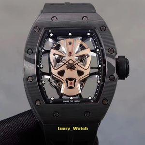 Límite de versiones RM52-06 fibra de carbono Caja de oro rosa superhéroe Máscara telefónico automático Miyota RM 52-06 para hombre del reloj de goma diseñador relojes deportivos