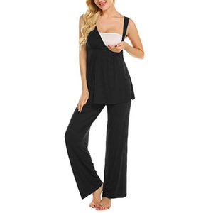 ARLONEET Women Maternity pajamas set Nursing Baby pregnant homewear lounge sleep suit Vest Tops+Stripe Pants sets suits J0620