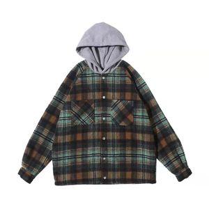 남성 재킷 느슨한 후드 자켓 모직 플란넬 체크 무늬 셔츠 코트 레트로 패션 하이 스트리트 특대 착실히 보내다 후드를 대표
