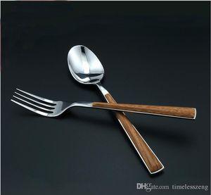 Heiße Verkauf Holz Farbe Kunststoff-Griff Löffel Gabel-Sets in Lebensmittelqualität 304 Edelstahl-Besteck-Sets 2 Größe 2 Farbe