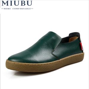 MIUBU Mens couro genuíno deslizamento Flats Preto Driving Mocassins Verão On Calçados Sperry Sociais Femininos