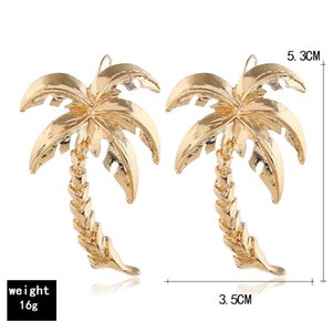 Sıcak satış küpe yaratıcı modeller alaşım palmiye ağacı yaprağı metal küpe kulak kancası Avrupa ve Amerika