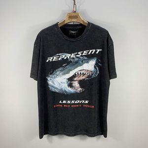 20SS tendencia de la calle de Protección tiburón floja impresión tee animal protege diseñador de manga corta camisas Pareja retro lavado camiseta HFXHTX187