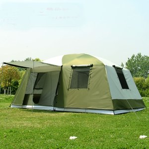 Actualizar materiales 2015 Tienda grande acampa al aire libre de alta calidad 10-12people familia / fiesta 2room 1hall al aire libre tienda de campaña