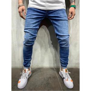 Mens sólido color diseñador de moda para hombre delgado Fit pantalones vaqueros del lápiz pantalones casuales para hombre Pantalones de cintura mediana