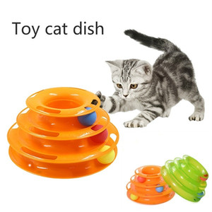 Interactive Pet Toy Cat trois couches Turntable Pet Puzzle Fun Tour Orbital Jouer Plate Toy Cat