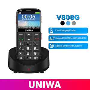UNIWA V808G Klavye 3G WCDMA ile Cep Telefonu Telefon Güçlü Torch Kıdemli Cep Telefonu Yaşlı Büyük SOS Push-Button Telefon Yaşlı Adam