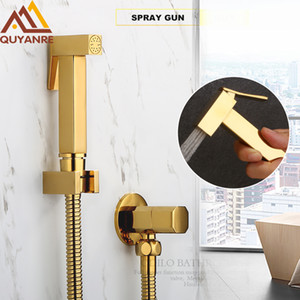 Gold aus massivem Messing Bidet Sprayer Douche WC Kit Messing Shattaf Spray Kupfer Valve Jet Bidet Wasserhahn Badezimmer Bidet Dusche
