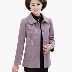 Spring Autumn Winter Jacket Women New Long Sleeve Middle-aged Wool Coat Plus Size 4XL Women Basic Woolen Jacket Outerwear AH85
