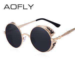 AOFLY Steampunk Vintage Sunglass Fashion round sunglasses women brand designer metal carving sun glasses men oculos de sol S1635 CX200706
