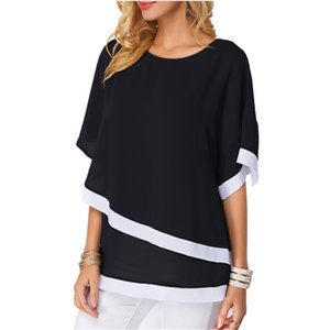 Daddy Chen Women Blouses Chiffon Blouse Batwing Sleeve Patchwork Blusa Femenina 2019 Summer Casual Loose O Neck Ladies Tops 4XL