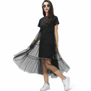 Kadınlar Kore Stili Siyah Uzun Elbise Kısa Kollu Mesh yamalı elbise Salıncak Midi Plaj Partisi Elbise
