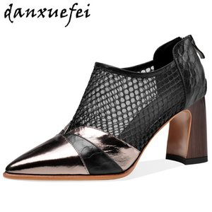 Женская натуральная кожа сетка пэчворк толстый высокий каблук весна осень насосы высокий топ элегантные дамы тонкий дыхание острым носом обувь