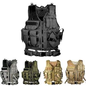 Tactical Vest Multi-pocket SWAT CS Exército Hunting Vest Camping Caminhadas Acessórios T190920