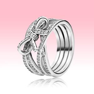 Cinta espumosa y anillo de arco CZ Joyas de diamante CZ para Pandora 925 Plata de ley de alta calidad de alta calidad Grils Ninges con conjunto de caja original