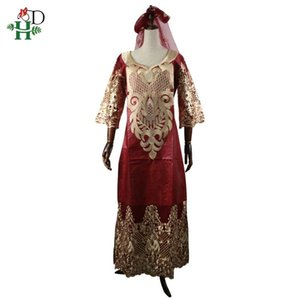H&D african women lace dress plus size bazin dresses headwrap long robe africa lady clothes embroidery pattern maxi dress