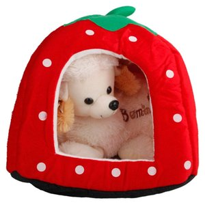 2020 Strawberry Mini Pet Home Dog Bed Puppy Dog Kennel Pet Bed House For Cat Rabbit Small Animals Home Dog House With Mat
