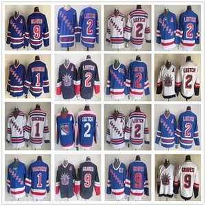Vintage CCM 1991 New York Rangers Hokey Formaları 2 Brian Leetch 1 Eddie Giacomin 9 Adam Graves Retro Mavi Beyaz Nakış Bir Yama