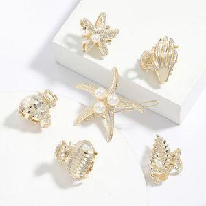 Simple Starfish Shell Shape Pearl Hairpin Creative Summer Ocean Wind Hair Accessories Elegant New Female Jewelry