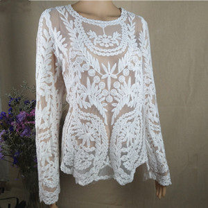 Plus size tops ladies spring summer sexy transparent beach cover up hollow out crochet lace shirt women long sleeve lace blouses T200530