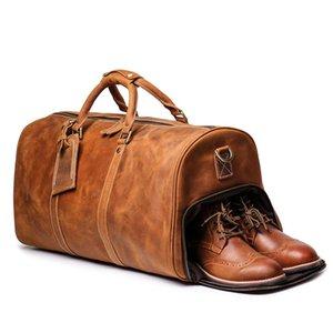 camada superior saco de viagem de couro couro bolsa de grande capacidade feminina louco couro saco de bagagem de pele de cavalo dos homens estouraram