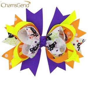 Design Eben Bunte große Bogen-Haarnadel Halloween Partei-Haar-Clips für Kinder Kinder Mädchen Haarschmuck 160802 Tropfen 20pcs