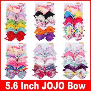 LARGE RegenbogenUnicorn Unterschrift HAIR BOW mit Karte und Pailletten-Logo-Baby-Kind-Haar-Accessoires Mode Haarclip 5,6inch JOJO SIWA