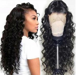 Cabello humano encaje completa pelucas de pelo humano del frente del cordón pelucas 13x4 agua barata onda floja peluca pre arrancó rayita natural
