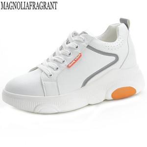 Encaje de moda los zapatos de las mujeres blancas cuñas de cuero genuino Zapatos Mujer Junta Aumentar informal dentro de las zapatillas de deporte y573