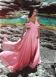 Pas cher Une Ligne En Mousseline De Soie Hors Épaule Plus La Taille Blus Rose Longue Robes De Demoiselle D'honneur 2019 Nouveau Sexy Robes De Soirée Robe De Soirée De Bal