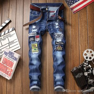 Rose Stickerei Herren Jeans Hallo-Straße Slim Fit Schwarz Blau elastische Jeans Männer gebrochene Loch-Denim-Jeans