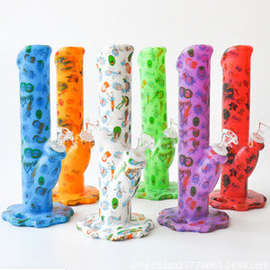 COLORFUL PRINTING SILICON PIPE Printing Silicone Bong water Pipe silicone bongs pipe colorful With Silicone water pipes DHL free