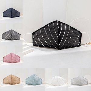 8 ألوان رقيقة القطن الترتر الوجه أقنعة للنساء القماش تنفس مكافحة الغبار Suncreen قابل للغسل قابلة لإعادة الاستخدام قناع شحن مجاني