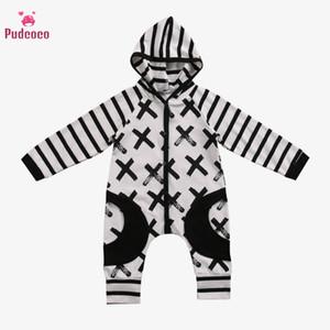 Pudcoco Baby Boy Vêtements barboteuses Fille d'automne à capuchon Romper X Imprimer rayé Bebe Tout-petits enfants Jumpsuit poche Vêtements bébé 0-24M