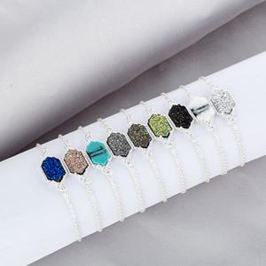 2019 Luxury Designer Bracciali Druzy Wire Bangle Faux geometrici in pietra naturale fascino per le donne monili del regalo di moda