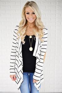Womens Designer Herbst Jacken Striped Printed Panelled Mode lose Frauen Outer beiläufige lange Hülsen-Frauen Kleidung