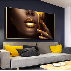 1 Parça Büyük Duvar Sanatı Resimleri Oturma Odası Için Kadın Yüz Altın Sıvı Ev Dekorasyonu Posterler HD Tuval Resimlerinde