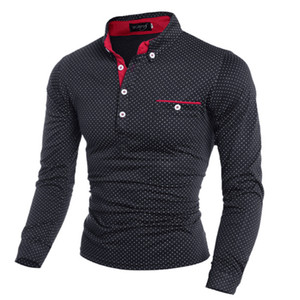 2017 New Spring Fashion Mens Dot Long Sleeve Shirts Stand Collar Male solid Shirt free shipping plus size M-3XL