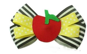 8 UNIDS 5 Pulgadas Niñas Regreso a la Escuela Hairbow Hechas A Mano de manzana Horquillas Hechas A Mano Grosgrain Cinta Arcos Para Niños Accesorios