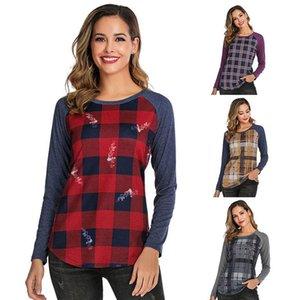 Nouveau Femmes Plaid Ecosse T-shirt à manches longues chemises d'impression Patchwork Casual Tops T-shirts Automne O-cou Blouses Blusas Tee
