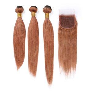 """Malásia Auburn Tece cabelo humano com fecho Hetero 3Bundles e Encerramento Pure 4x4"""" 30 Medium Auburn Lace Closure com tecem extensões"""