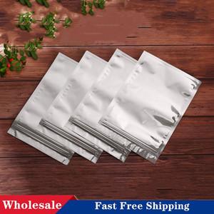 Auf Lager Aluminiumfolie Flache unten Reißverschluss Tasche Kleine Lebensmittel Verpackungsbeutel Geruchsgeschütztes Pulver Kaffee Tee Aufbewahrungstaschen
