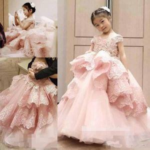 Erröten Rosa Blumen Mädchen Kleider Ballkleid Spitze Rüschen Flügelärmeln Prinzessin Pageant Party Kleid Kommunion Kleider Für Hochzeit