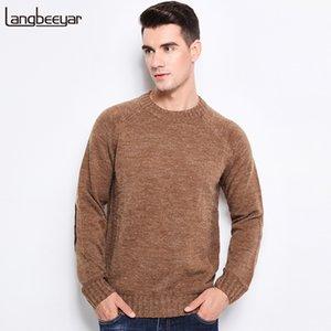 LANGBEEYAR Nueva otoño invierno de la manera marca de ropa para hombre Pullover suéteres O-Cuello grueso del ajustado de los suéteres de color sólido para los hombres