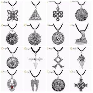 ashion Jewelry Necklace CHENGXUN Multiple Men Necklace Viking Odin Symbol Helmet Horror In Rune Braided Borre Knot Norse Unique Pendant P...