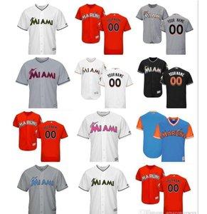 2.018 mujeres jóvenes hombres de encargo regalo Miami Marlins Jersey 14 Martín Prado 27 Giancarlo Stanton Inicio Naranja Blanco Gris jerseys del béisbol