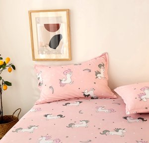 Bonenjoy 3 pcs Bedsheet Unicorn Reactive Printed sheet Linens Pink Color drap de lit Cartoon Kids Sheets with Elastic