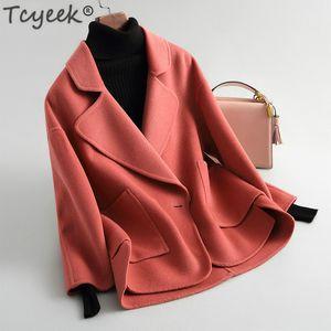 Tcyeek Femmes Manteaux D'hiver En Laine Vestes Automne Printemps Manteau De Laine Femme Courte Vêtements Dames Abrigos Mujer Elegante LWL1292