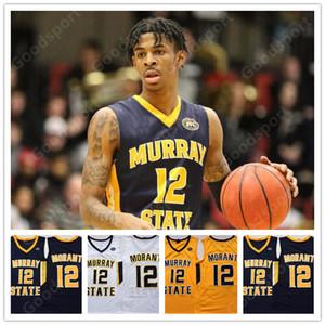 Murray State University Racers NCAA cucita 12 Ja Morant ha cucito ricamo swingman maglie camicie sportive a basso costo star del basket