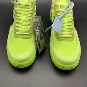 OW Off White x Hombres aire forzado 1 Low Volt verde AO4606-700 1s mujeres de los zapatos de baloncesto zapatillas deportivas mejor calidad Caja original